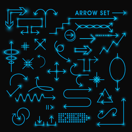 arrows background: modern fluorescent arrows set isolated on black background