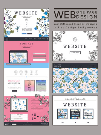 graceful one page website design template with blue floral elements