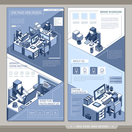 office scene: office scene one page website design template in flat style Illustration