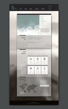 webdesign template: modern one page website design template with blurred background Illustration