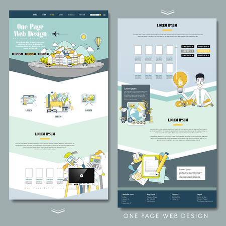 フラット スタイルで素敵な 1 つのページのウェブサイトのデザイン テンプレート