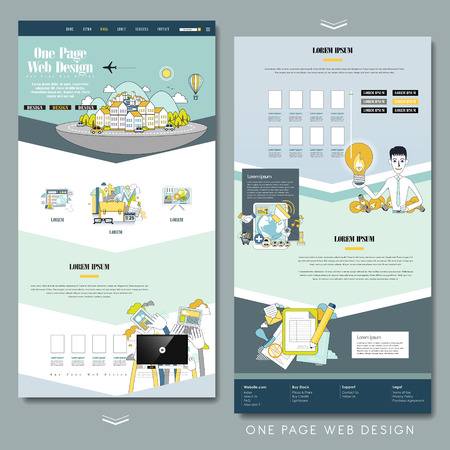 website template: lovely one page website design template in flat style