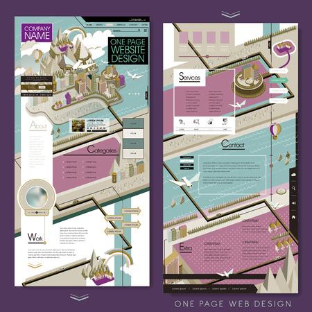 responsive design: lovely one page website design template in flat design Illustration