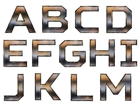 oxidado: metálico alfabeto conjunto retro aislado en el fondo blanco Vectores