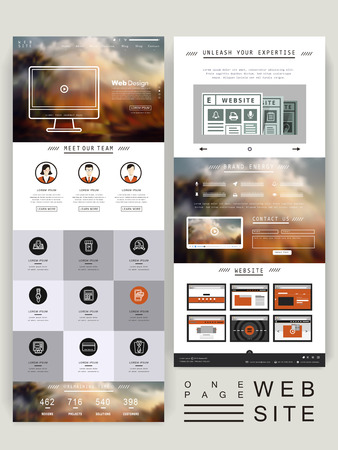 elegant one page website design template with blurred background  イラスト・ベクター素材