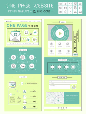 usability: fresh one page website design template in flat style