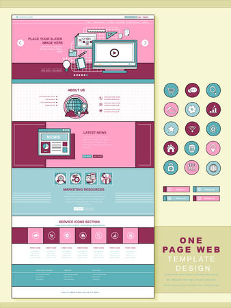icons site search: business concept one page website design template in flat style Illustration