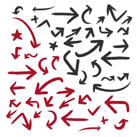고전적인 낙서 스타일의 화살표에 격리 된 흰색 배경을 설정합니다 일러스트