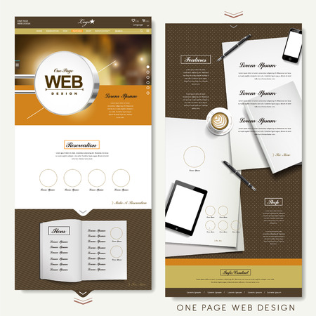 web site design: modern one page website design template with blank product