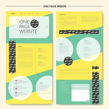 フラット スタイルでの幾何学的な 1 つのページのウェブサイト デザイン テンプレートは魅力的です