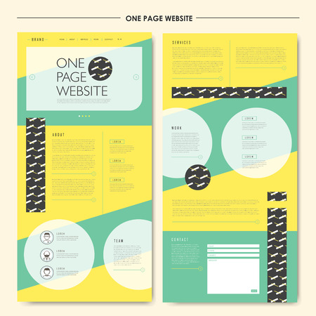 web site design: attractive geometric one page website design template in flat style