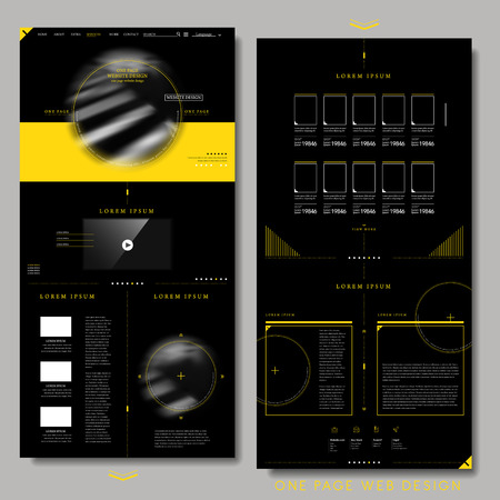 trendy one page website design template in black and yellow