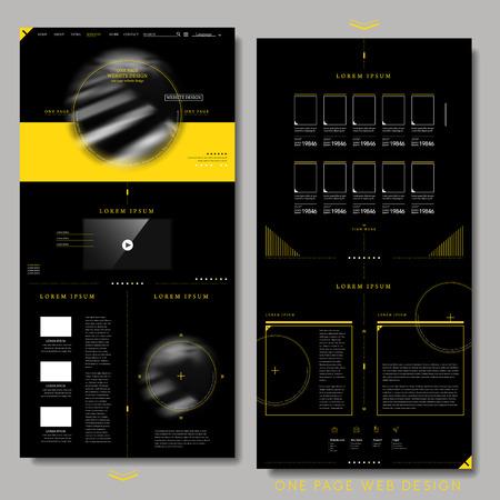 trendy één pagina website ontwerp sjabloon in zwart en geel
