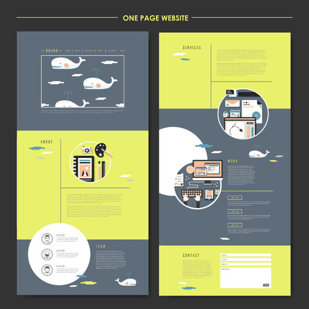 web site design: lovely one page website design template in flat style with whales