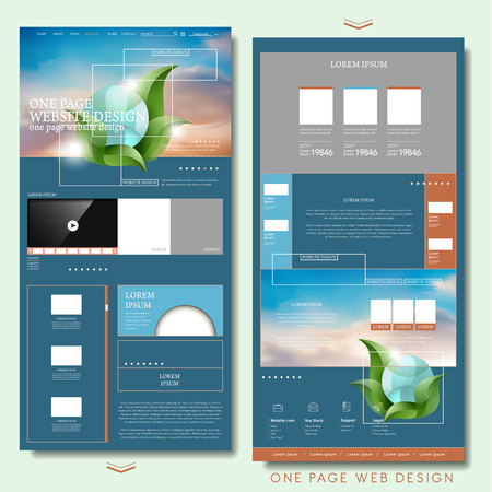 website buttons: trendy one page website design template in flat style