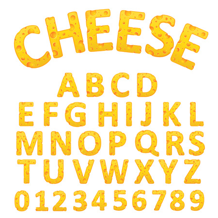 delicious cheese alphabet set isolated on white background