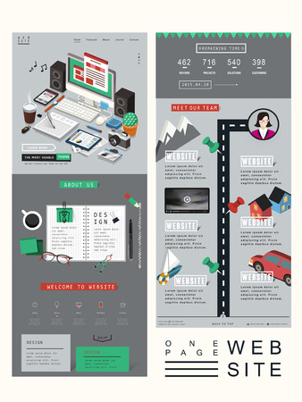 usability: workplace concept one page website design template in 3d isometric style Illustration