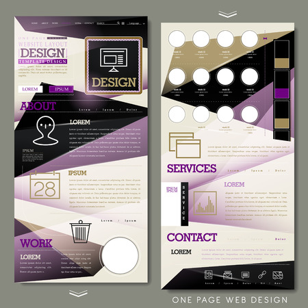 geometric one page website design template in flat style