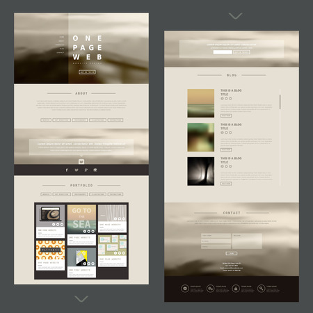 website template: modern one page website design template with blurred background Illustration