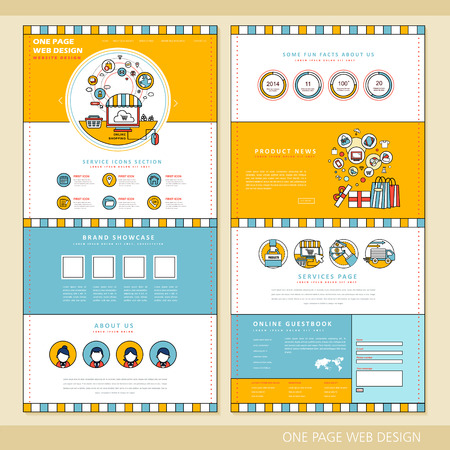 icons site search: shopping concept one page website design template in flat style