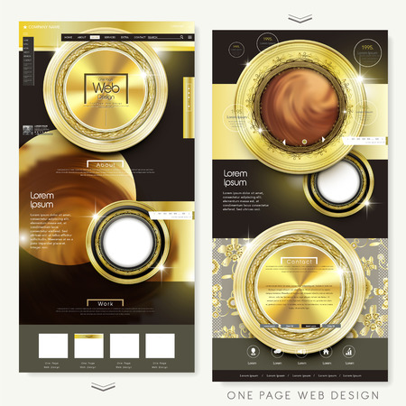 gorgeous one page website design template with gold elements
