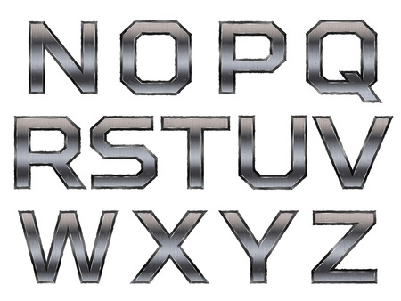 heavy metal: metallic alphabet set isolated on white background Illustration