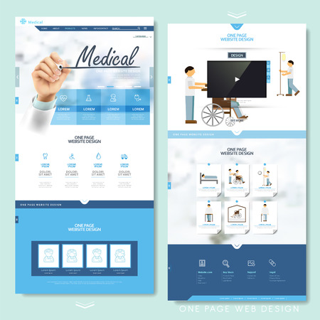 medical icons: medical one page website design template in blue and white Illustration