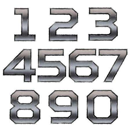slash: metallic numbers set isolated on white background