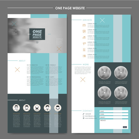 contemporary one page website design template with geometric elements
