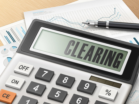 clearing: calculator with the word clearing on the display Illustration