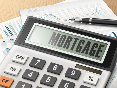 mortgage rates: calculator with the word mortgage on the display Illustration