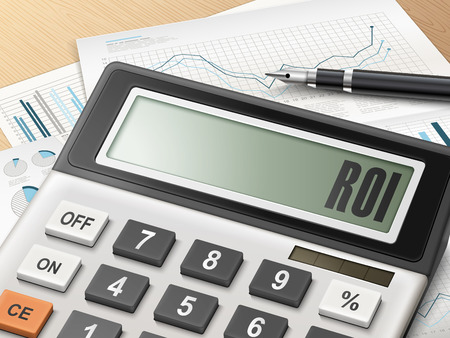 stock market return: calculator with the word ROI on the display