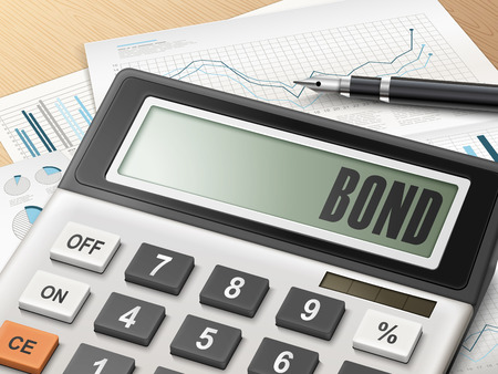 calculator with the word bond on the display Vector