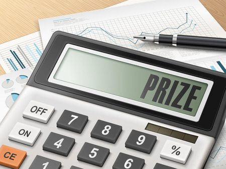 accomplish: calculator with the word prize on the display Illustration