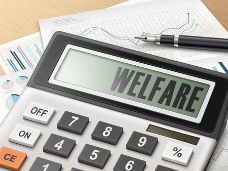 financial statements: calculator with the word welfare on the display
