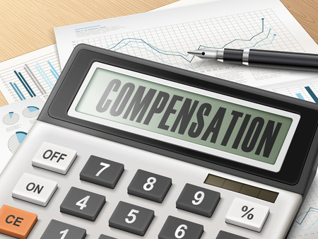 compensate: calculator with the word compensation on the display