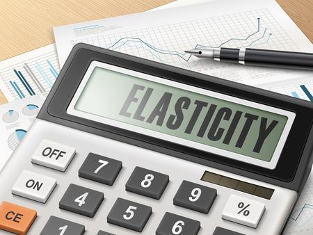 elasticidad: calculadora con la palabra elasticidad en la pantalla