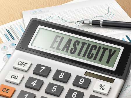 elasticity: calculator with the word elasticity on the display Illustration