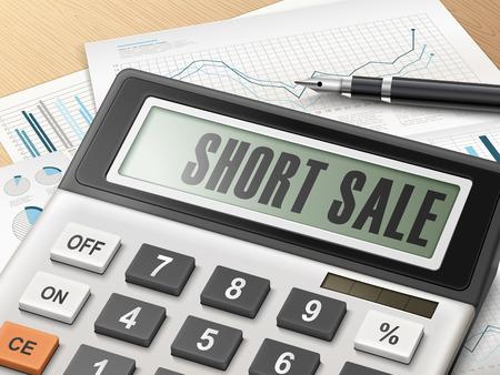Calculator met het woord korte verkoop op het display Stockfoto - 41488640