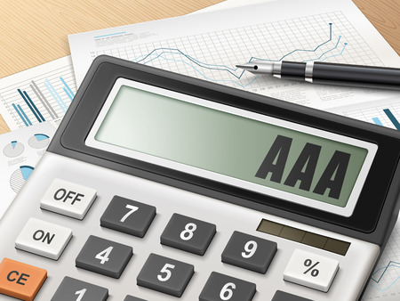 calculator money: calculator with the word AAA on the display