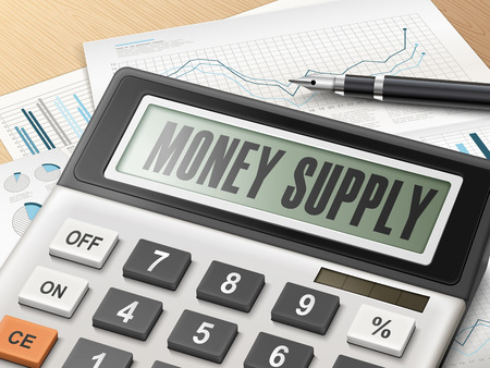 bonanza: calculator with the word money supply on the display