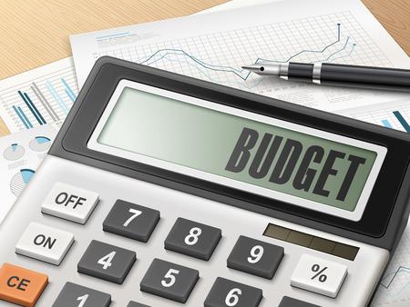 Kalkulator z budżetu słowo na wyświetlaczu Ilustracje wektorowe