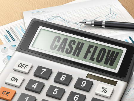 flow: calculator with the word cash flow on the display