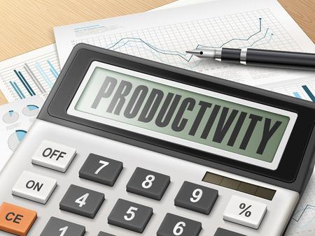 productividad: calculadora con la palabra de la productividad en la pantalla Vectores