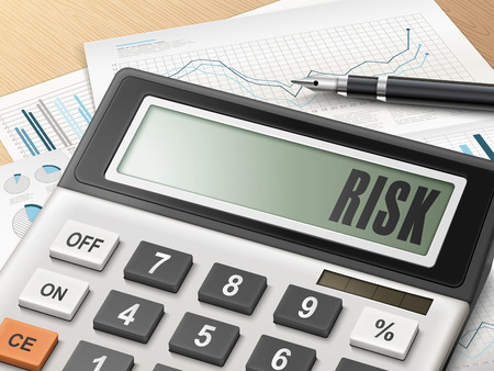 calculator: calculator with the word risk on the display