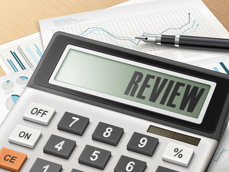 profitable: calculator with the word review on the display
