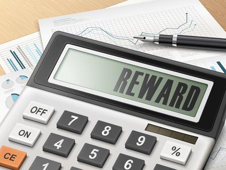 accomplish: calculator with the word reward on the display