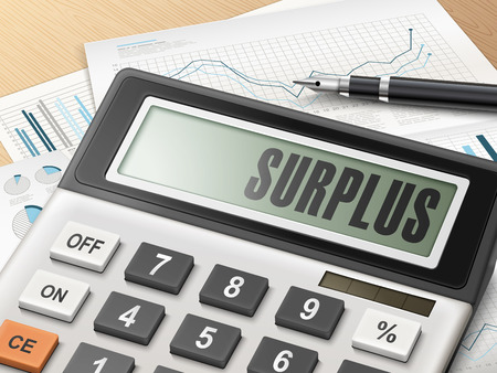accomplish: calculator with the word surplus on the display Illustration