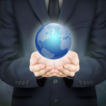 hand holding globe: close-up look at businessman holding beautiful earth Illustration
