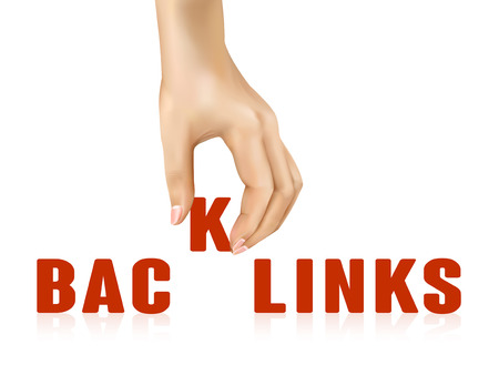 backlink: backlinks word taken away by hand over white background Illustration